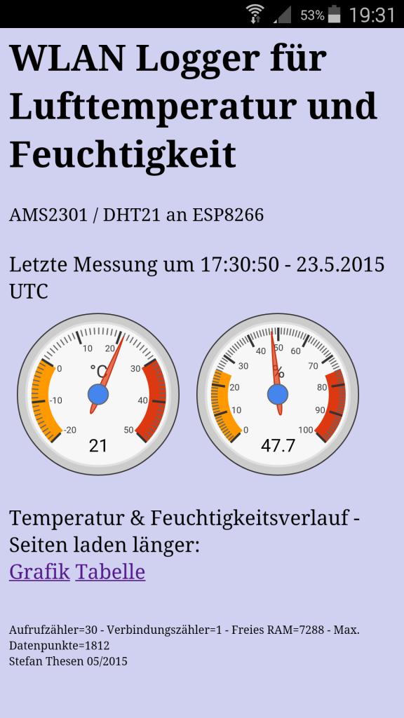 WLAN Lufttemperatur und -feuchte Logger mit grafischer Darstellung für ESP8266