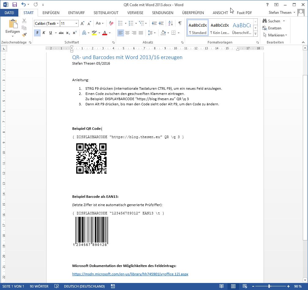Qr Und Barcodes In Word 201316 Mit Bordmitteln Erzeugen Ohne