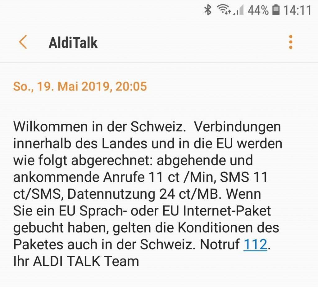 Kostenfalle Alditalk In Der Schweiz Europäischen Nicht Eu